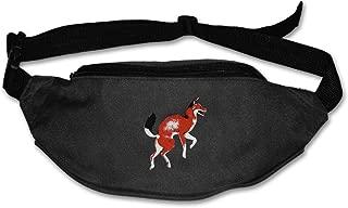 Janeither Unisex Pockets Red Fox Logo Fanny Pocket Adjustable Running Sport Waist Bags Black