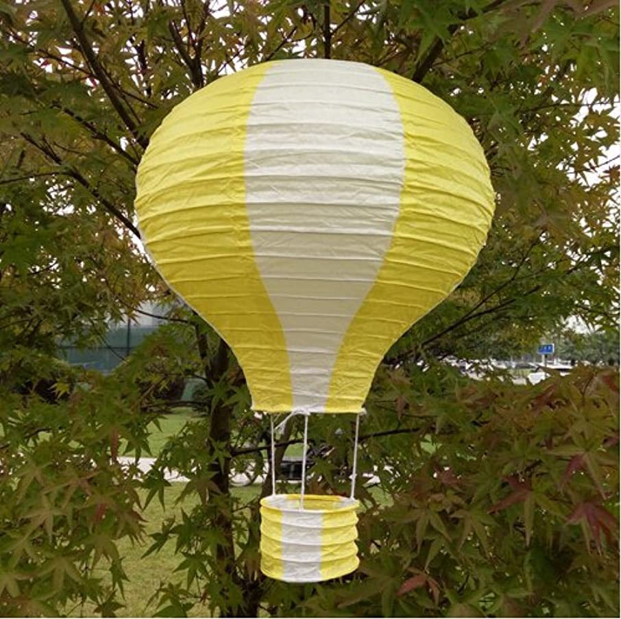 Joinwin 12 Inch Hanging Wedding Rainbow Hot Air Balloon Paper Lantern Party Decorations, Pack of 5 Pieces (White + Yellow)