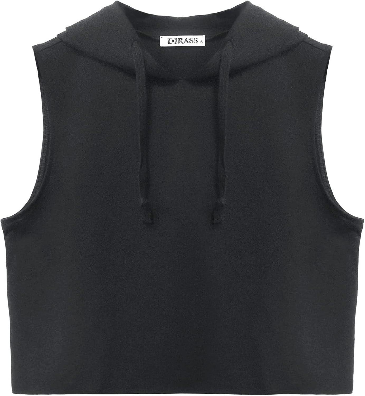 DIRASS Women's Sleeveless Hoodie Crop Tank Top Workout Shirts