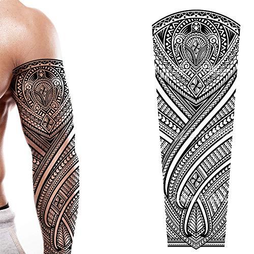 2 x Temporary tattoo full arm body art stickers tribal turtle hawaiian large polynesian samoan full adults kids men women arm leg sleeves waterproof temp tatoo halloween gag gift