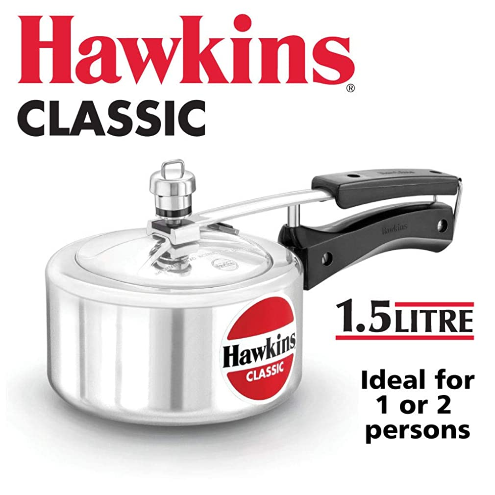 メジャージャンクションぬるいHAWKIN?つClassic CL15 1.5-Liter New Improved Aluminum Pressure Cooker, Small, Silver by HAWKIN