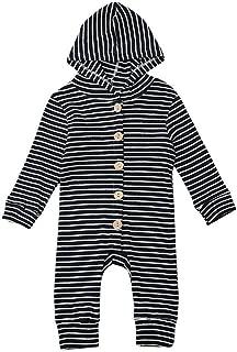 iLOOSKR Infant Baby Boys Girls Warm Long Sleeve Striped Print Romper Jumpsuit