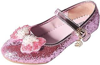 a9d1db9dad9 YIBLBOX Kids Girls Mary Jane Wedding Party Shoes Glitter Bridesmaids Low  Heels Princess Dress Shoes