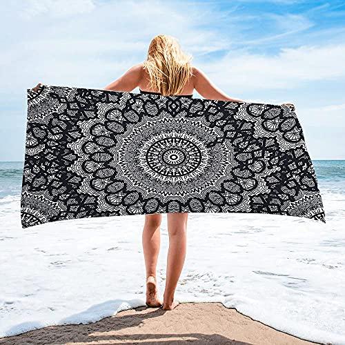 Surwin Toalla de Playa Grande, Microfibra Bohemia Impresión Secado Rápido Toalla de Piscina Toalla de Arena Antiadherente para Verano Playa, Yoga, Picnic, Hotel (Mandala,80x160cm)