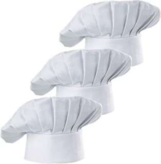 Hyzrz Set of 3 Pack Adult Chef Hat Adult Adjustable Elastic Baker Kitchen Cooking Chef Cap 3 Pieces