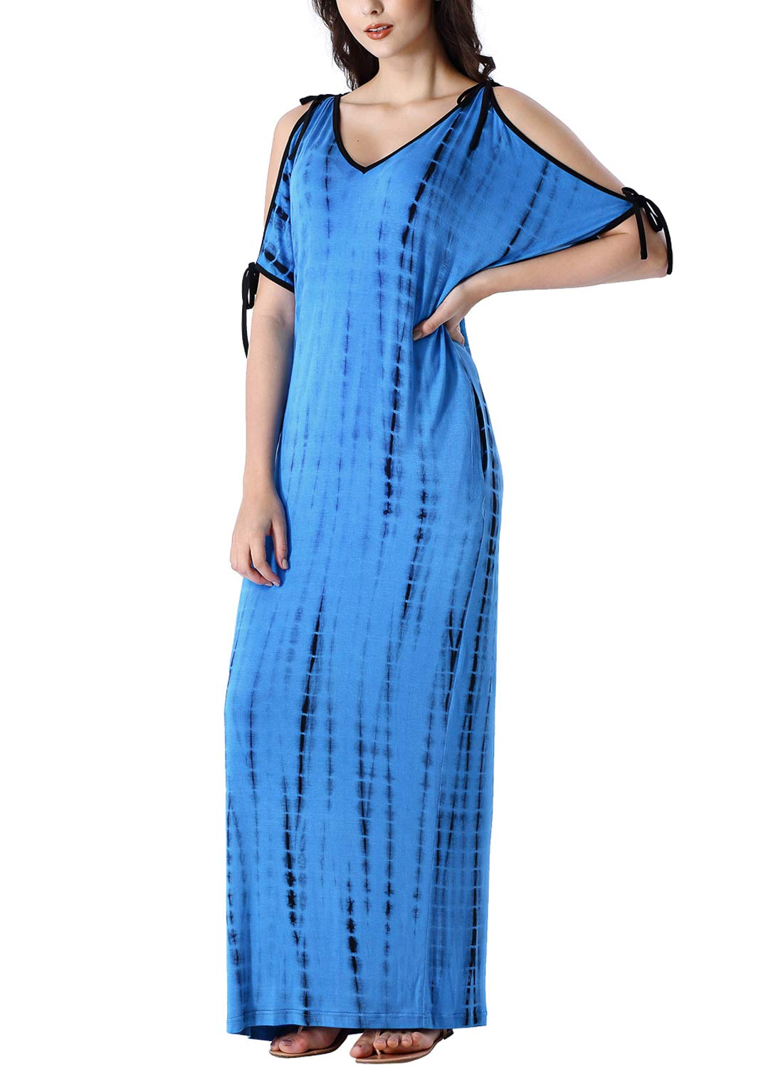 Available at Amazon: VFSHOW Women's V Neck Tie Cold Shoulder Batwing Sleeve Pockets Loose Casual Beach Maxi Dress
