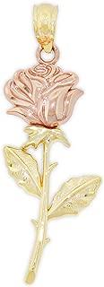 gold rose stem necklace
