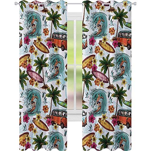 Cortinas opacas con aislamiento térmico, surfista hawaiano en el mar profundo ondulado estilo retro palmeras, flores, tablas de surf, 52 x 108, cortinas opacas para habitación de niños, multicolor
