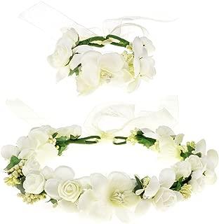 Love Sweety Rose Flower Crown Wreath Wedding Headband Wrist Band Set
