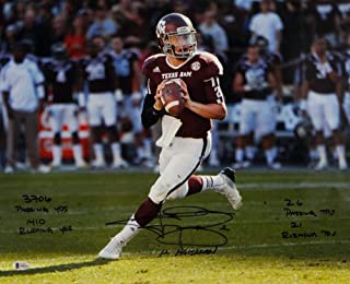 Johnny Manziel Autographed Texas A&M 16x20 PF Photo Looking to Pass 5 Insc-Beckett W Auth Black