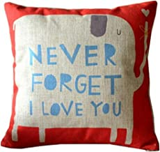 QINU KEONU Never Forget I Love You Elephant Cotton Linen Throw Pillow Case Cushion Cover Home Sofa Couch Decorative 18 X 18 Inch (1)