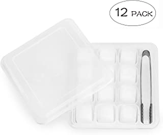 BOTTLED JOY Ice Cubes, Reusable Ice Cube BPA Free Dishwasher Safe Chilling Stones with Tongs for Whiskey Wine Beer and Drinks Set of 12