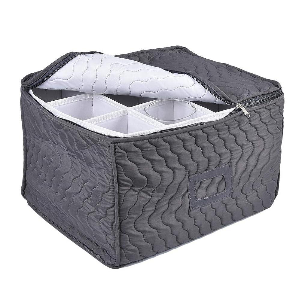 結論雰囲気トリクルキッチン ストレージ ワイングラス 収納袋 脚付きグラス 収納チェストケースゴブレット12枚の仕切り シャンパンフルート ゴブレットを保護する ソフトパッド入りの綿はそのまま内部の内容を保持し 各収納袋はすぐに内容を識別するため