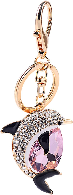 LKEEP Women Crystal Dolphins Rhinestone Keychain Purse Pendant Bag Car Keyring Drop-Shaped Imitation Gemstone Key Holder,Pink
