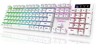 لوحة مفاتيح NPET K10 للألعاب ذات كابل USB عائم ، لوحة مفاتيح هادئة ومريحة ومقاومة للماء ، لوحة مفاتيح بإضاءة خلفية LED بأل...