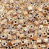 KYEYGWO - Juego de 20 cuentas cuadradas de piedra natural a granel, con agujero de 5 mm, grandes agujeros para fabricación de joyas, pulseras y collares.