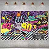 90s Theme Backdrop Hip Hop Graffiti Back to 90's Party Banner Background 71x43.3 Inch Fabric Wall Table Decorations Photo Booth Props