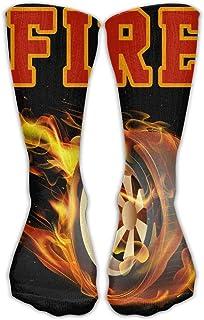 Bigtige, Calcetines de compresión clásicos Bola de fuego Calcetines deportivos negros deportivos personalizados de 50cm de largo para hombres Mujeres