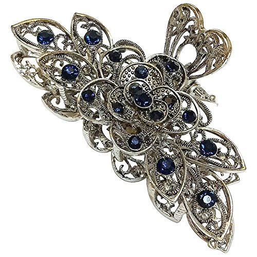 Numblartd Vintage Chic Metal Alloy Rhinestone Large Size Fancy Hair Claw Jaw Clips Pins - Women Fashion Retro Flowers Hair Catch Hair Updo Grip Hair Accessories for Thick Hair