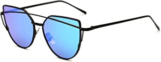 Dormery Women Cat Eye Sunglasses Fashion Flat Panel Twin-Beams Frame Sunglass Female Mirror Rose Gold Lens Sun Glasses