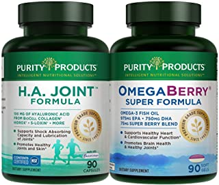 Ultimate Joint Combo - HA Joint Formula + OmegaBerry Super Ultra-Pure Omega-3 Fish Oil Formula by Purity Products - 100mg Hyaluronic Acid + Joint + Skin Multi Collagen (Type I, II and III) - 180 Count
