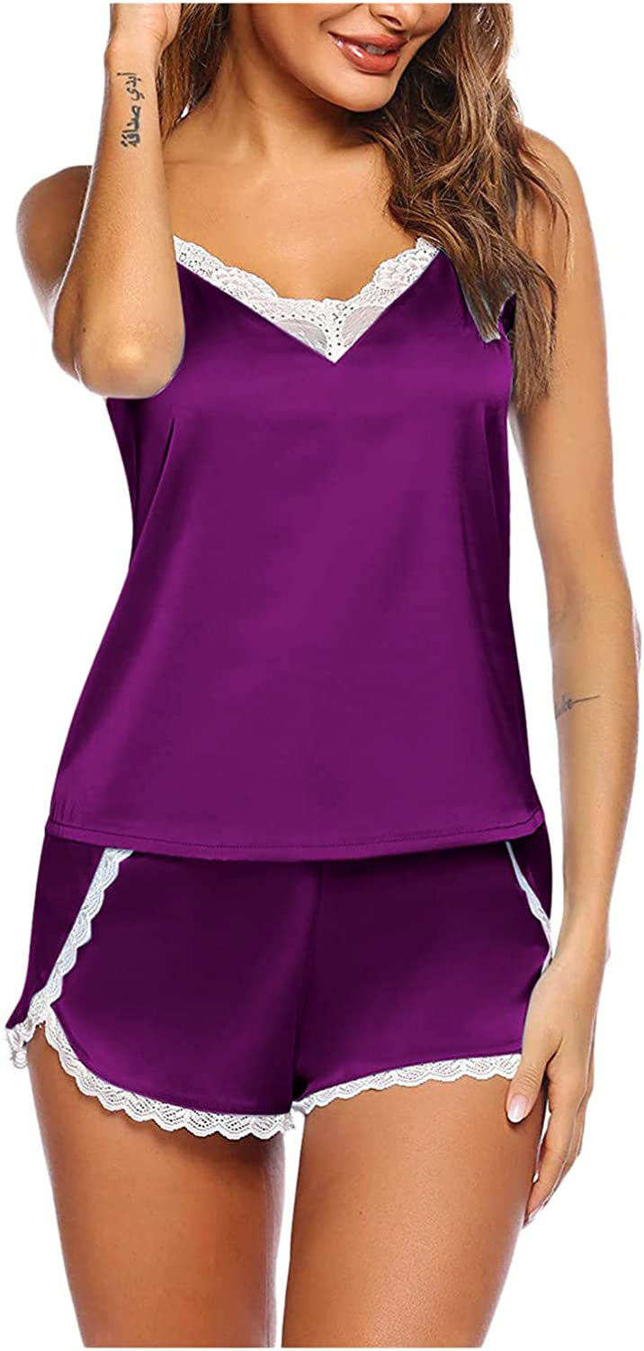 AODONG Two Piece Lingerie for Women Womens 2 Piece Lingerie Set Lace Cami Top with Shorts with Panties Sexy Pajama Set Sleepwear Purple