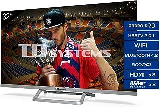 TD Systems Televisor Smart TV Android 9.0 y HBBTV, 800 PCI Hz, 3X HDMI, 2X USB. DVB-T2/C/S2, Modo Hotel - K32DLX11HS [Clase de eficiencia energética A+] 32 Pulgadas