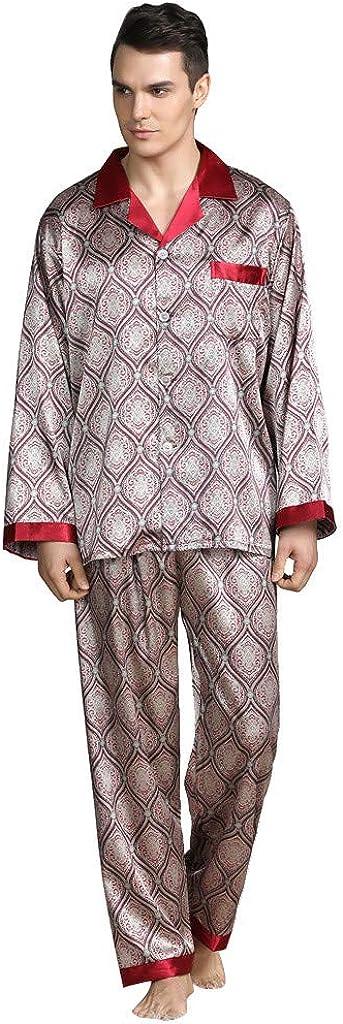 ZSBAYU Men's Satin Soft Long Sleeve Pajamas Set Button Down Shirts and Pants Sleepwear Classic Lightweight Lounge Wear