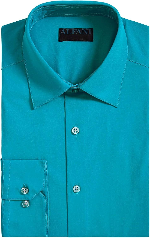Alfani Mens Slim Fit Officewear Button-Down Shirt Blue L