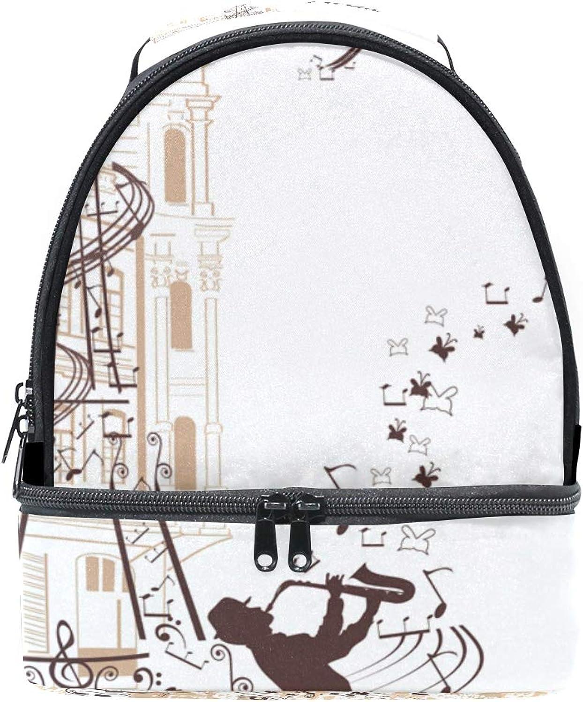 Schulter Double Lunch Bag Eiffelturm verziert mit Musik Musik Musik Musiker Stabkirche Kühler verstellbarer Gurt für Picknick B07GJQJF7T  Hohe Qualität und geringer Aufwand f69763