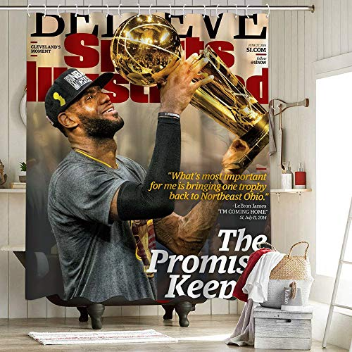 Los Angeles Lakers 2020 FMVP Lebron James 23 Rd Tela Cortina de Ducha Liner Decoración de Baño Campeonato King Crown Art Sports Player Poster 72 x 72 pulgadas