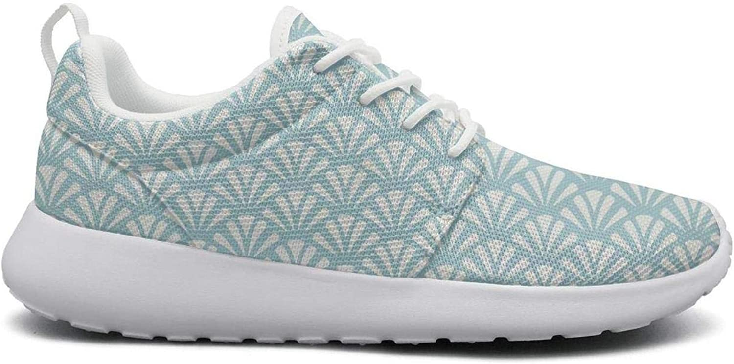 LOKIJM Natural Big Seashell Conch Printed White Casual Sneakers for Women Slip Lightweight Running shoes