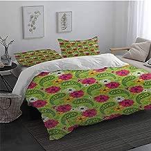 3 Pieces Ultra Soft Zipper Closure Bedding Set Paisley Floral Pattern with Vivid Paisley Print Old Vintage Boho Style Print 100% Cotton Bedding Pistachio Pink Orange Long Twin