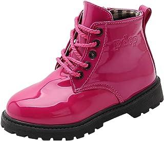 WUIWUIYU Boys' Girls' Lace-Up Side Zipper Round Toe Short Ankle Boots (Toddler/Little Kid/Big Kid)