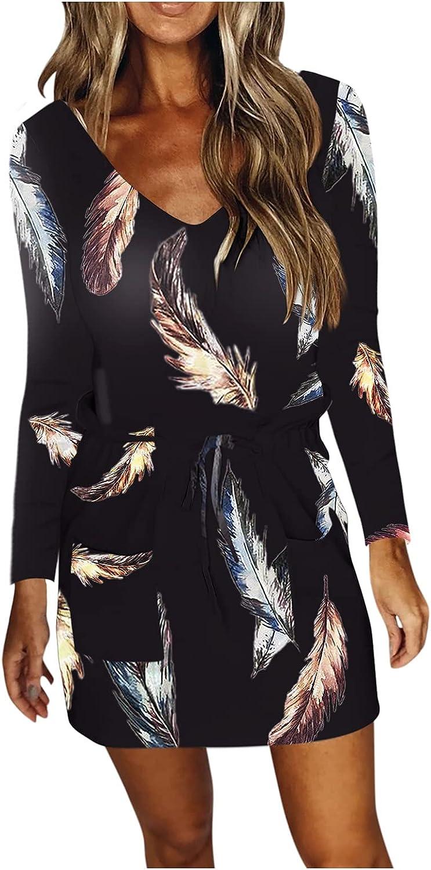 NEEKEY Pocket Dress for Womens Casual Long Sleeve V Neck Dress Drawstring Feather Print Mini Dress Loose Belted Dresses
