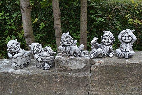 Sonderangebot: Stück 5 lustige kleine Gnome Trolle Wichtel aus Steinguss frostfest - 9