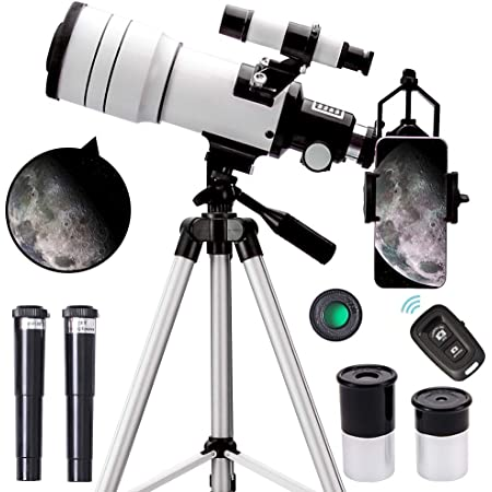 None//Brand Telescope Portable Travel Telescope and Adjustable Tripod 70mm Aperture and 300mm AZ Refracting Astronomical Telescope for Children and Beginners