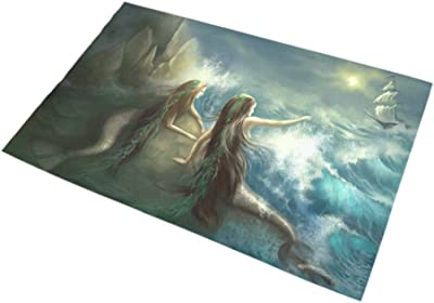 INTERESTPRINT Abstract Hunting Two Mermaids in Stormy Ocean Home Decor Non Slip Bath Rug Set Absorbent Floor Mats for Bathroom Tub Bedroom Large Size 20 x 32 Inches