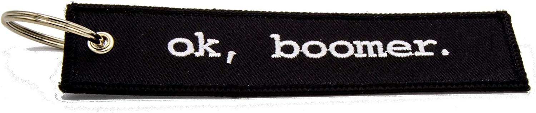 Ok, Boomer Black Fully Embroidered Keychain