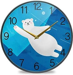 Chovy 掛け時計 サイレント 連続秒針 壁掛け時計 インテリア 置き時計 北欧 おしゃれ かわいい 白熊 ブルー 可愛い かわいい おもしろ 部屋装飾 子供部屋 プレゼント