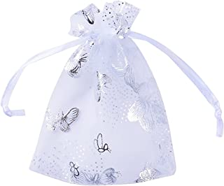 100pcs Bolsas Bolsitas Organza Blancas Mariposas 9x12 cm