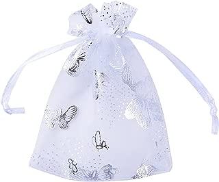 BUONDAC 100pcs Bolsas Bolsitas Organza Blancas Mariposas 9x12 cm Saquitos Arroz Regalo Joyas Caramelo Dulces Recuerdo Favores Detalles para Boda Fiesta Bautizo con Cintas