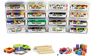 hand2mind STEM Bins Kit by Brooke Brown for Kids (Set of 16) - 18 Different Manipulatives, 8 Challenge Yourself Cards, 8 Writing Prompt Cards, and Teacher Guide