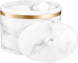 Lewondr Boîte à Coton avec Couvercle, Support de Coton Tige avec Texture Marbre 2 Compartiments pour Cosmétiques, Organisa...