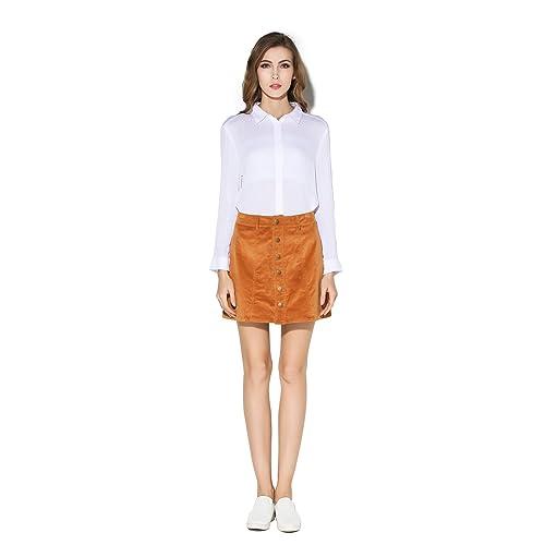 24b5c077d13add Little Smily Women's Corduroy A-line High Waist Button Front Mini Skirt