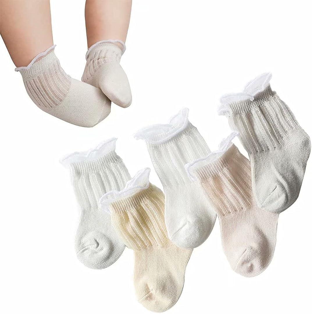 Baby-Girls Ruffle Eyelet Lace Socks Toddler Princess Dressy Ankle Short Socks Newborn Infants