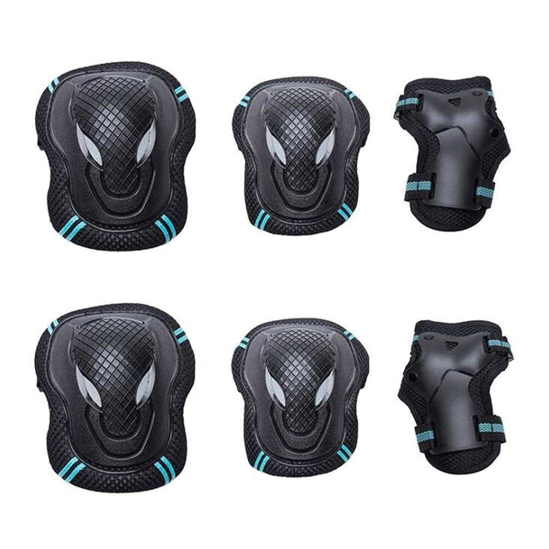 スポーツ用プロテクティブギアセット、調節可能な膝と肘パッド付きリストガード付きマルチスポーツ野外活動用(6個)