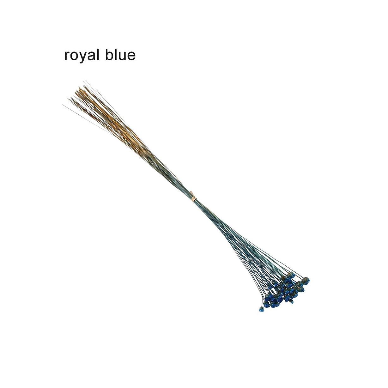 で矩形ローラーkawayi-桃 50ピースかわいいハッピーフラワーナチュラル小さなドライフラワー押されたドライフラワーミニ装飾配置写真背景装飾-royal blue-