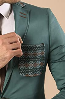 Wessi Men's Modellierter Blazer Mit Brusttasche Und Kragen Business Suit Jacket