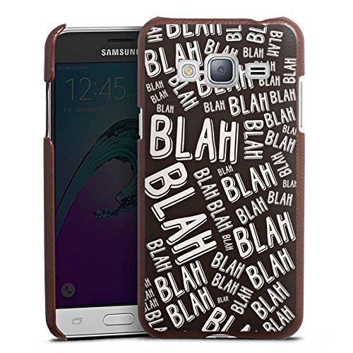 DeinDesign Cover kompatibel mit Samsung Galaxy J3 Duos 2016 Lederhülle braun Leder Hülle Leder Handyhülle Blah Sayings Phrases
